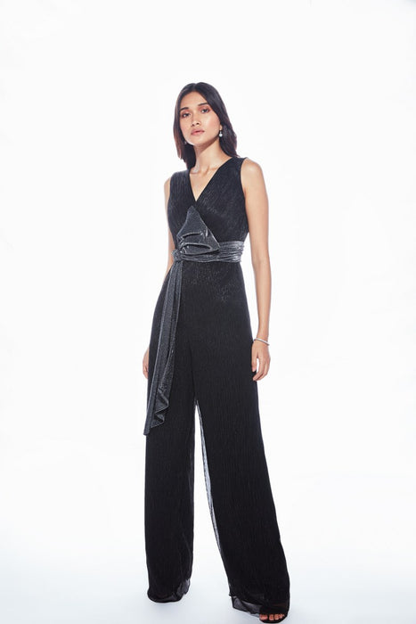 Black wide leg jumpsuit with bow tie up detail
