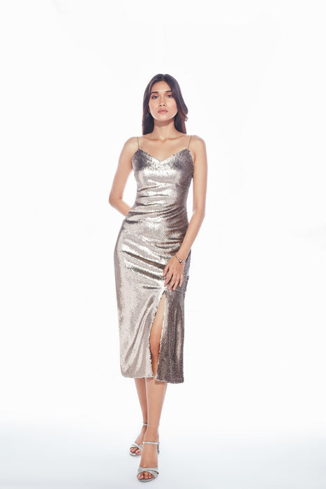 Rose gold/ silver two-tone sequin dress