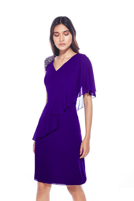Violet one shoulder drape dress with embellishment detail