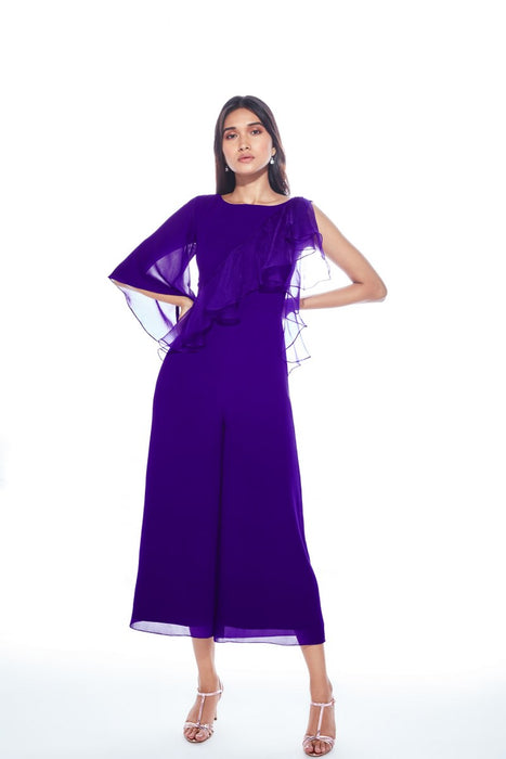 Violet jumpsuit with one side sleeve and drape detail