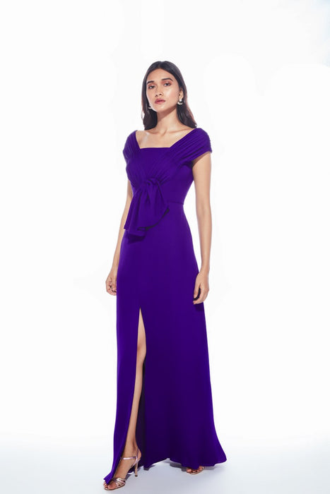 Violet gown with front bow tie up and slit
