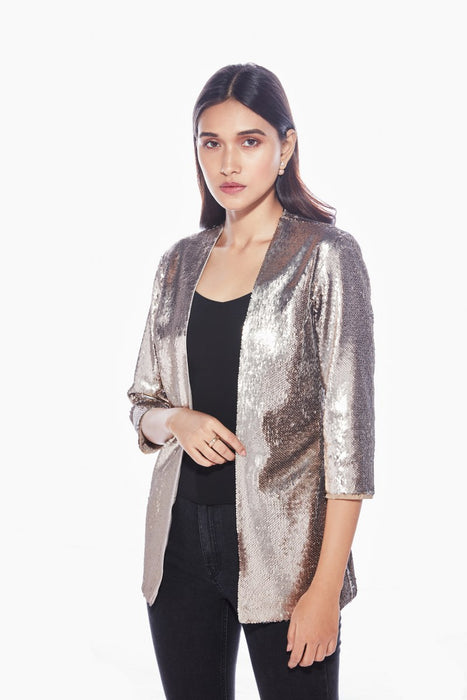 Rose gold/silver two-tone jacket