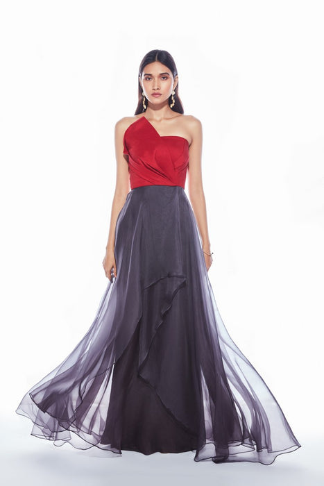 Maroon and grey strapless gown with layering