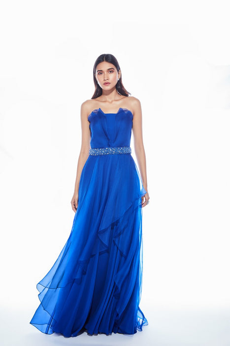 Cobalt Blue layered gown with organza pleated detail