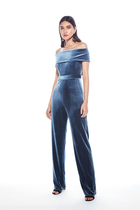 Grey off shoulder jumpsuit with back bow detail