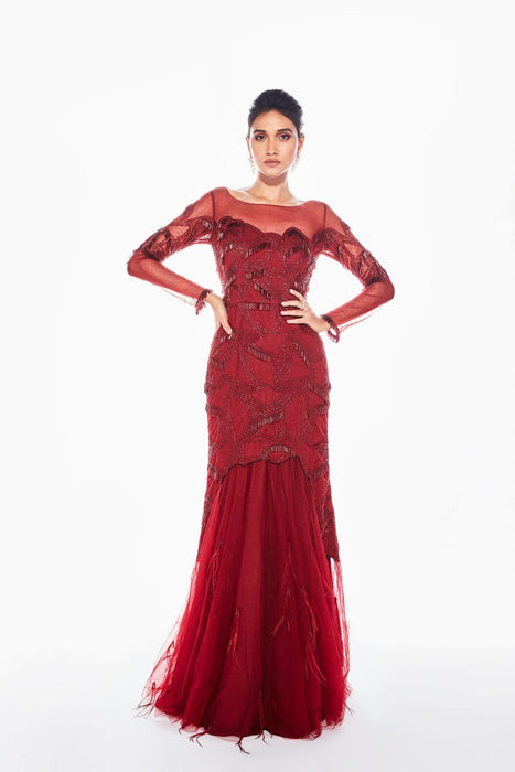 Red gown with full sleeves and all over tube tassel embroidery