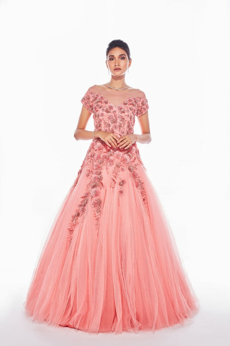 Pink gown with all over applique floral embroidery and gathered bottom