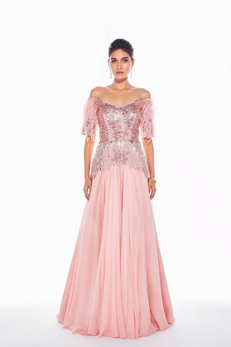 Pink off-shoulder gown with sequins embroidery