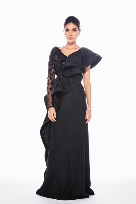 Black grown with ruffle drape and floral applique embroidery
