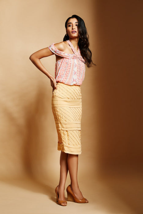 Yellow pencil skirt with cord mesh and cross stitch details