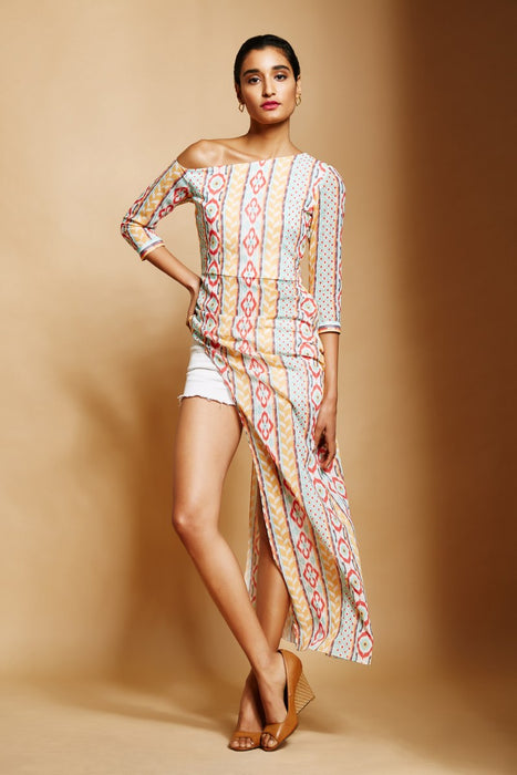 White ikat stripe print asymmetric  maxi top