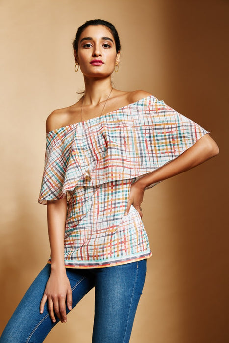 Peach Ikat Print off-Shoulder top with ruffle details