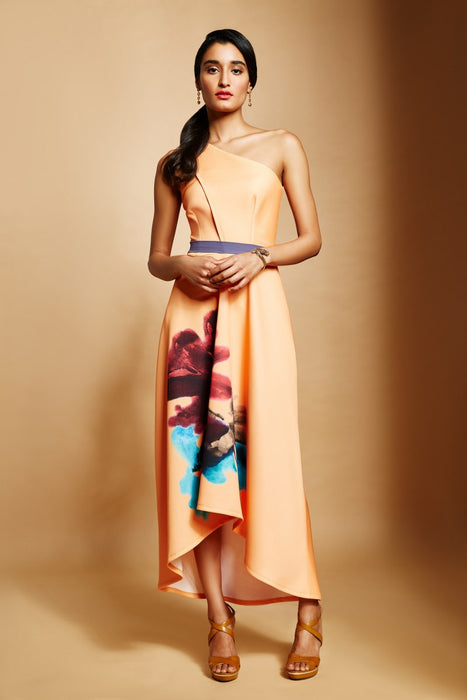 Yellow one shoulder high-low dress with floral printed motif