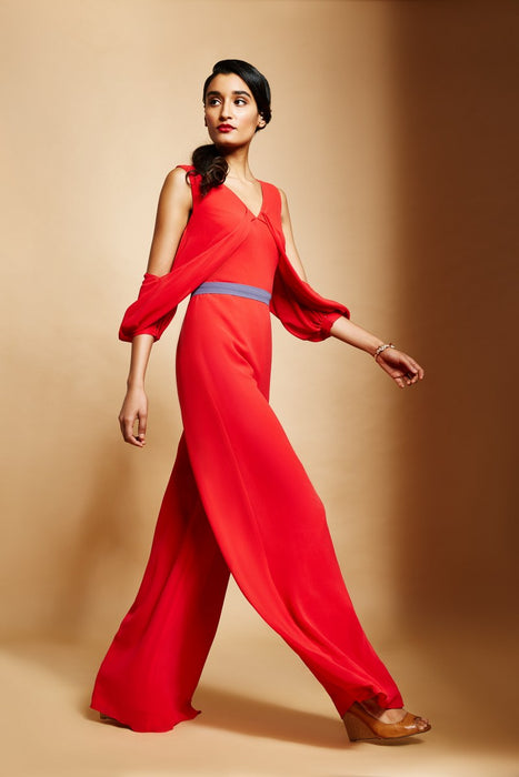 Fiesta red wide leg jumspuit with overlap drape sleeves