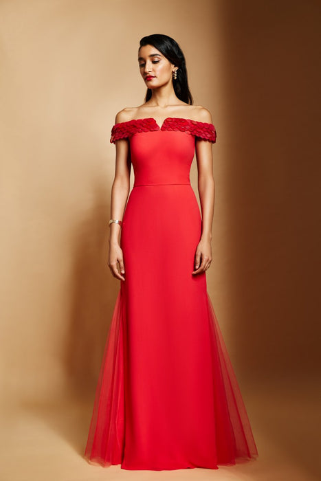 Fiesta red off shoulder gown with overlap sequins embellishment detail