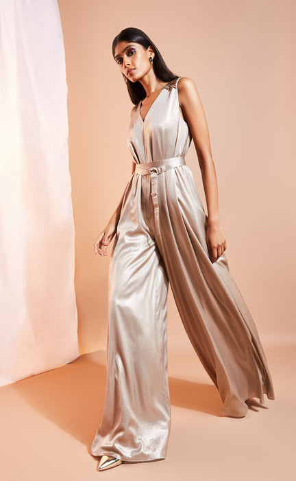 Wide-legged grey shimmer jumpsuit with belt