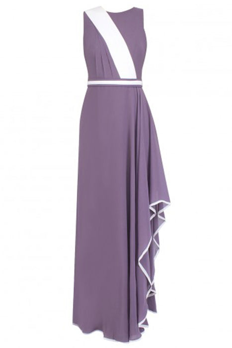 Lilac grey georgette gown with white colour block