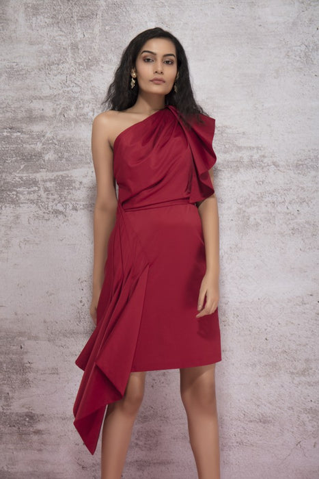 GYPSY RED ONE SHOULDER DRESS WITH A SIDE CASCADE DRAPE