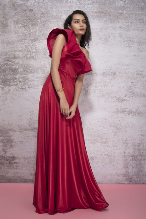 GYPSY RED ONE SHOULDER GOWN WITH A RUFFLE AND A FLARED PANEL