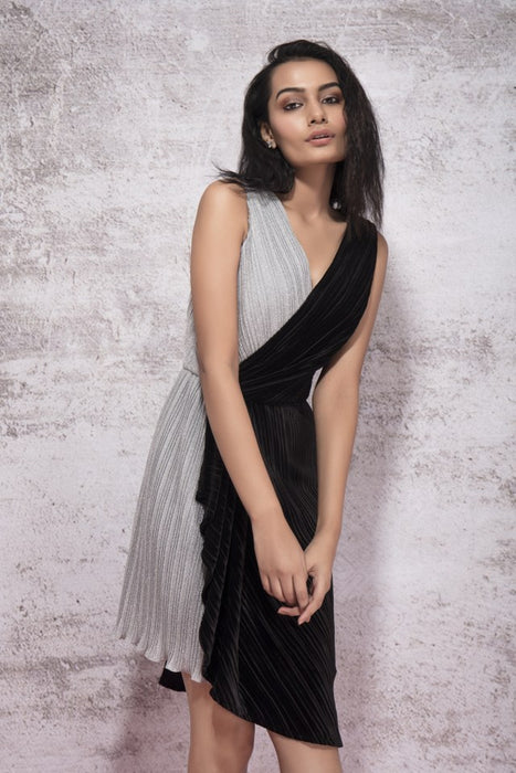 BLACK AND SILVER PLEATING DRESS WITH DRAPE DETAIL