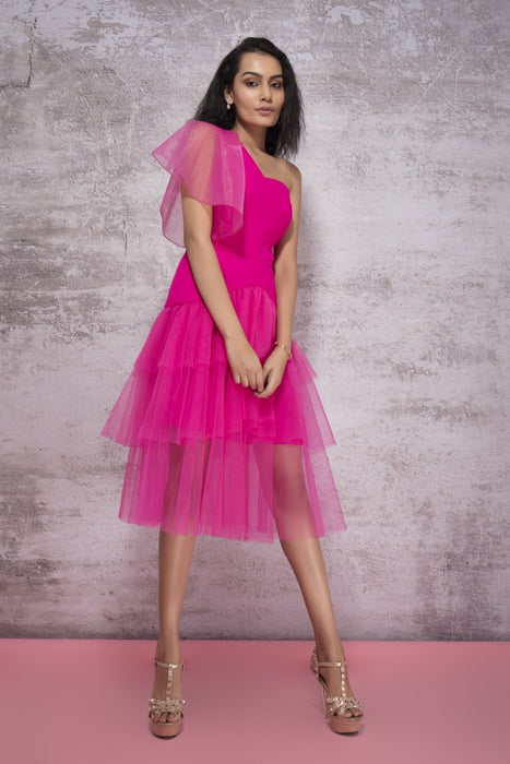 HOT PINK ONE SHOULDER DRAPE WITH LAYERED RUFFLE