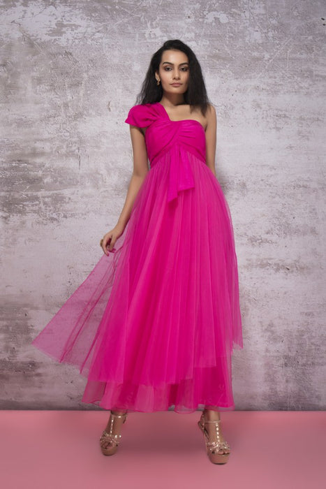 HOT PINK DRAPE DRESS WITH ASYMMETRIC LAYERING