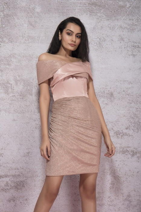 DUSKY BEIGE OFF SHOULDER DRESS WITH SHIMMER DETAIL