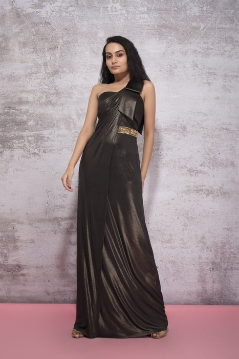 SHIMMER BLACK GOWN WITH DRAPE AND EMBROIDERY DETAIL
