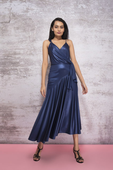 MIDNIGHT BLUE DRAPE DRESS WITH RING DETAIL