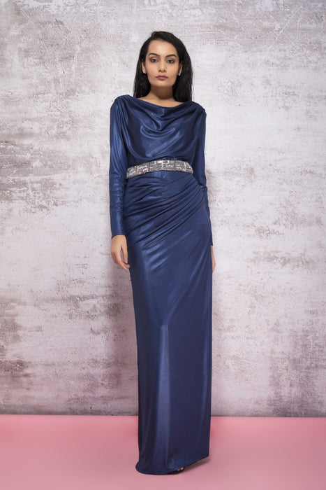 MIDNIGHT BLUE DRAPE GOWN WITH A LOW BACK AND EMBROIDERY DETAIL