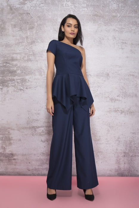 MIDNIGHT BLUE OFF SHOULDER TOP WITH RUFFLED PEPLUM