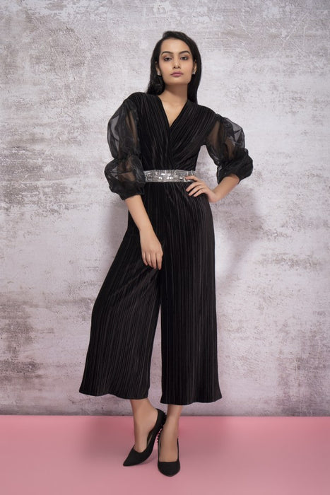 BLACK JUMPSUIT WITH PUFF SLEEVES AND EMBROIDERY DETAILS