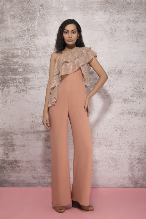 DUSKY BEIGE JUMPSUIT WITH SHIMMER DETAIL