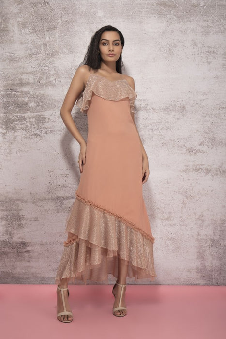 DUSKY BEIGE DRESS WITH SHIMMER AND NET DETAIL