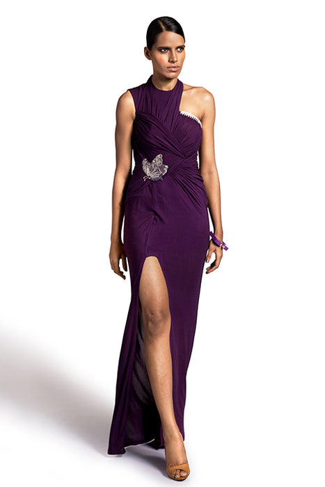 Aubergine silk jersey high neck gown with butterfly detail at waist and overlap twist drape