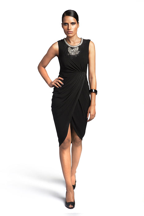 Black jersey dress with overlap drape and embellishment at neck
