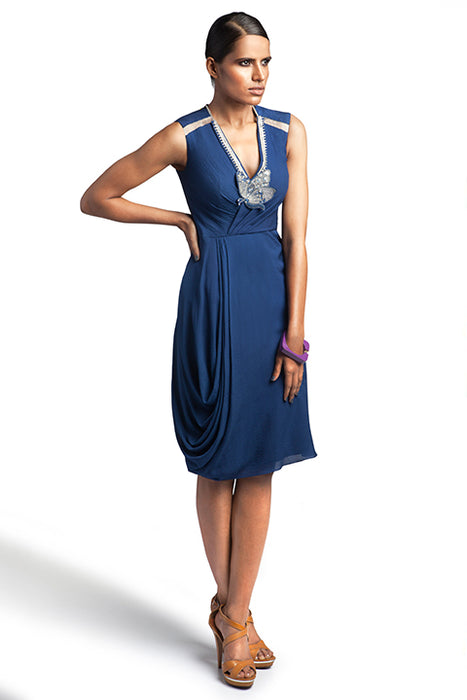 Oxford blue textured Georgette dress with side cowl and embellishment at neck