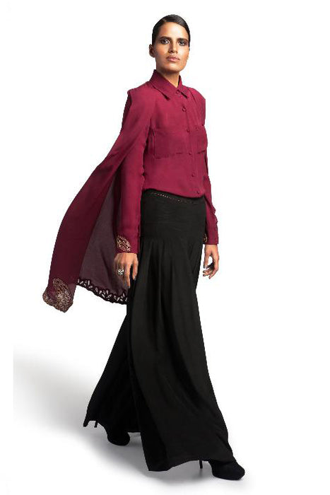 Wine cape with leather cutwork embellishment