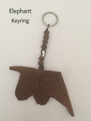 Elephant/Rhino Keyring With Bead Deco