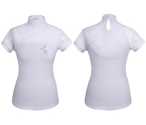 FairPlay Lace Competition Shirt Lucia Short Sleeve - Medium, White Only