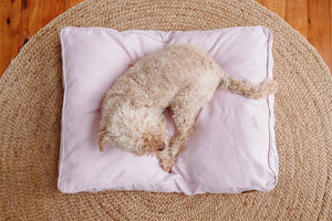 Blush Woven Dog Bed