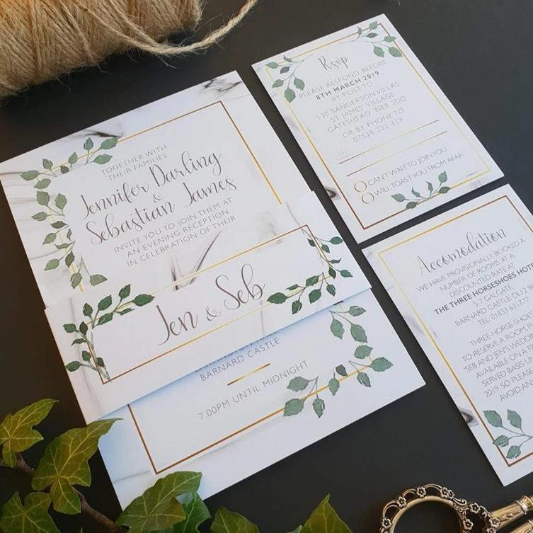 Marble with Gold Frame and Green Foliage Wedding Invitations