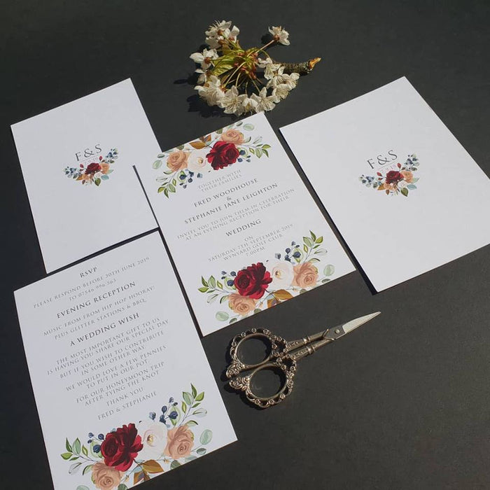 Roses and Foliage on White Floral Wedding Invitations