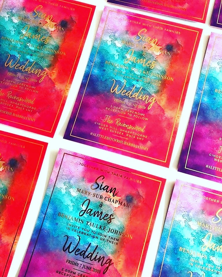 Blue Watercolour Wash With Gold Foil Wedding Invitations