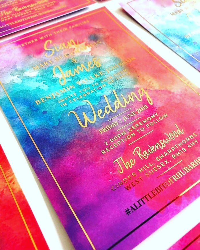 Bright Vibrant Red Pink Purple Blue Watercolour Wash With Gold Foil Wedding Invitations