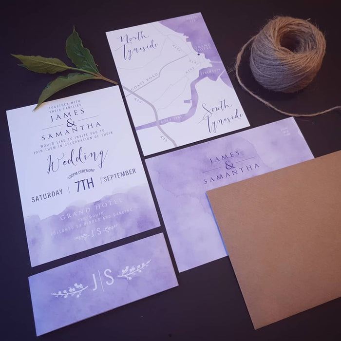 Blue Watercolour Wash on White Wedding Invitations