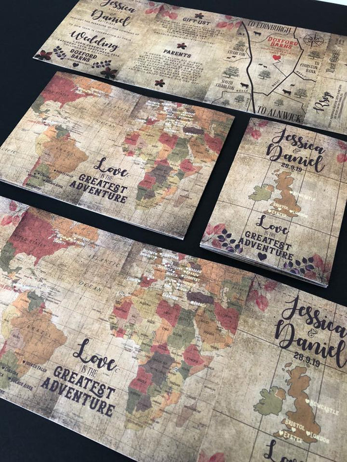 Love Is The Greatest Adventure World Map concertina Wedding Invitations