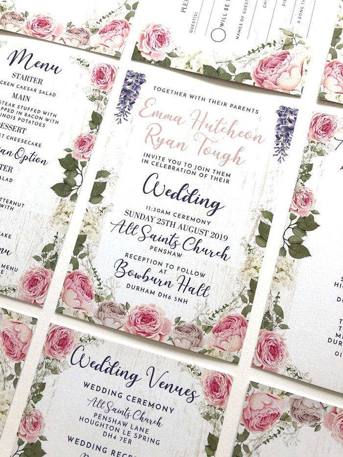 Pink Peonies & Blue Wysteria on White Wood Floral Wedding Invitations