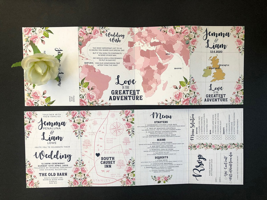 Pink, WHite and Navy Floral Love Is The Greatest Adventure World Map concertina Wedding Invitations