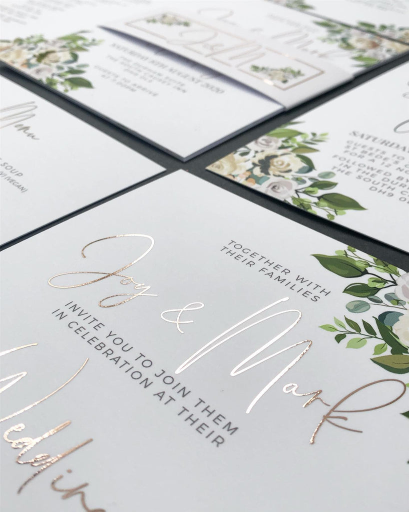 White, Cream and Rose-Gold Foil Roses with Green Foliage Floral Wedding Invitations